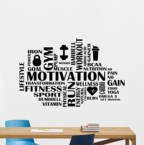 Motivation Fitness Words Cloud Gym Wall Decal Motivational Fitness Vinyl Sticker Inspirational Wall Decor Fitness Motivation Quote Sport Wall Art Training Workout Wall Mural 88fit