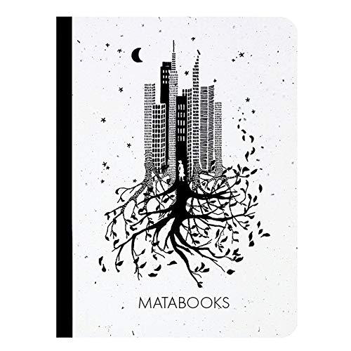 Matabooks, nachhaltige und vegane Notizbücher A6 aus Graspapier, Samenbuch, 108 blanko Seiten, Natur, Handmade, Made in Germany (Luna)