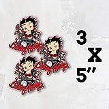 Betty Boop Cartoon Bike Vinyl Sticker Decal Set of 3 Pieces - 5'' Longer Side