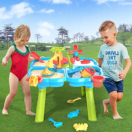 TEMI Water Table for Toddlers, Kids Play Sand & Water Table 4 in 1 Summer Beach Toys for Outside & Outdoor Activity, Gifts for Boys Girls Children (Deluxe Version 32 Pcs)