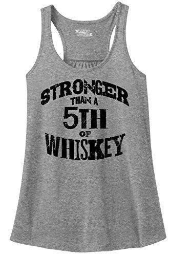 Comical Shirt Ladies Racerback Tank Stronger Than 5th of Whiskey Sport Grey 2XL