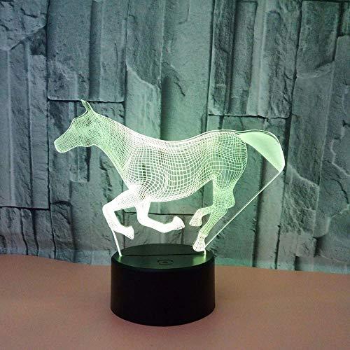 WULDOP Luz De Noche De Led 3D Patrón Caballo galope creatividad Lámpara De Ilusión 3D Lámpara De Escritorio De Mesa Táctil Que Cambia De 7 Colores Para Dormitorio De Niños Con Regalos De Cumpleaños A