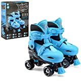 Xootz Kids Quad Skates, Beginner Adjustable Roller Skates Boys, Blue/Black