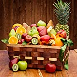 The Fruit Company- Festival of Fruit Basket - Assortment of 33 Pieces of Premium Fresh Apples, Pears, Oranges, Kiwi, Pineapple and Mango with a Dried Fruit Medley Reusable Woven Wooden Basket