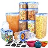 Contenitori per cereali, contenitori per cereali con coperchio, 100% ermetici, ideali per farina, zucchero, riso e altro ancora, senza BPA (10 pezzi)