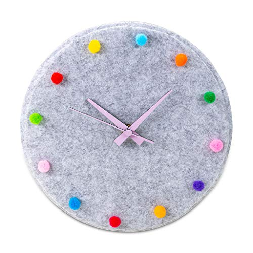 """CLOCK&CLOTH Unique Wall Clocks-10"""" Pink Wood Hands, Felt Clock Kids Clock, Boho Wall Clock, Clock for Kids Learning to Tell Time. Silent Wall Clock; Nursery Clock, Toddler Clock. Reloj de Pared"""