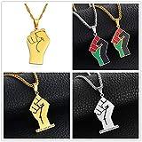 Anniyo Black Lives Matter African Pendant Necklaces Women Men,Silver Color/Gold Color Fist Necklaces Africa Ornament #157621