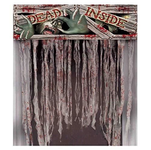 Guirca Halloween Vorhang für Tür mit Zombiemotiv Horror Zombie Deko für Türen 95x135 cm
