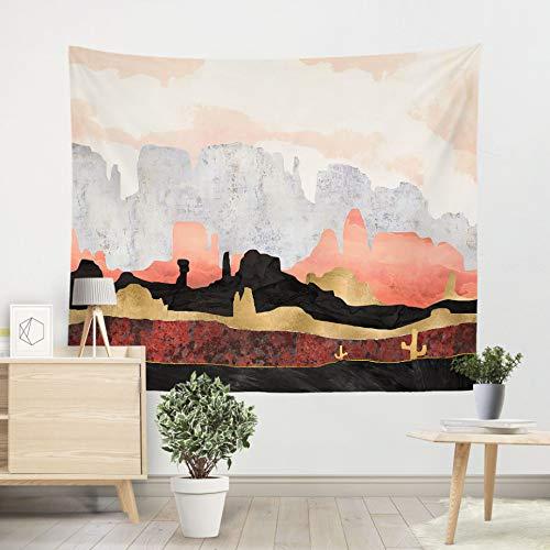 Tapijt Rode berg maan Kunst schilderij Yoga mat deken Strandlaken Muur hanger Decoratie 2 soorten pluis Deken, 150 * 200 cm.