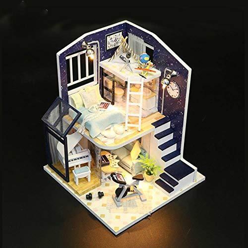 QINGCANG DIY Laser Cut Modellbau Kitsminiature DIY Puppenhaus Spieluhr 3D Holz manuelle Montage Gebäude Modell Zubehör Schlafzimmer Möbel Spielzeug für...