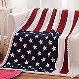 USTIDE The American Flag Fleece Blanket Super Soft Sherpa Throw Blanket Comfort Caring Gift Blanket 51'x63'