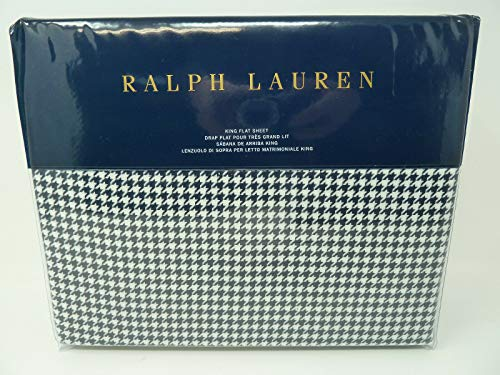 Ralph Lauren King Flat Sheet Mattea Screening Room Bedding Collection Cotton Navy/Cream
