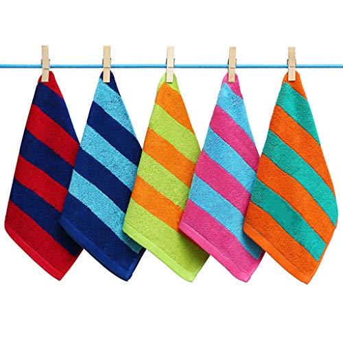 BNBO-L HWH Toalla de algodón, Suave Agradable para la Piel del niño Lave su Cara Toalla pequeña Raya Toalla doméstica 50 * 25cm 5 PCS Toallas absorbentes (Size : 50 * 24CM)