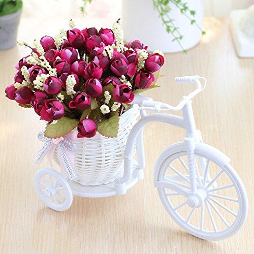 Seika Mini triciclo con flor artificial, ratán para bicicleta de plástico con flores artificiales