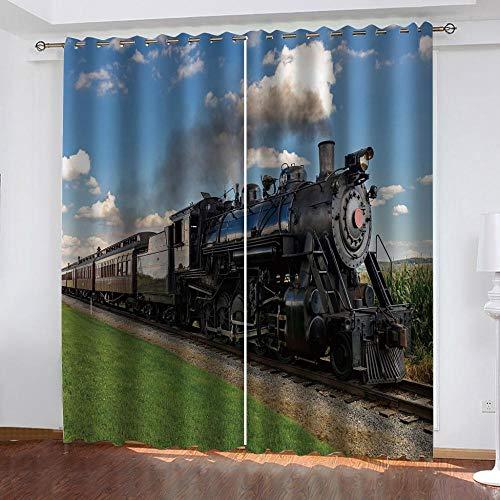 ZZZXX Cortina Opaca Tren De Vapor Negro 280X250cm Cortinas Opacas Térmicas Aislantes De Salón Y Dormitorio Moderno 2 Piezas