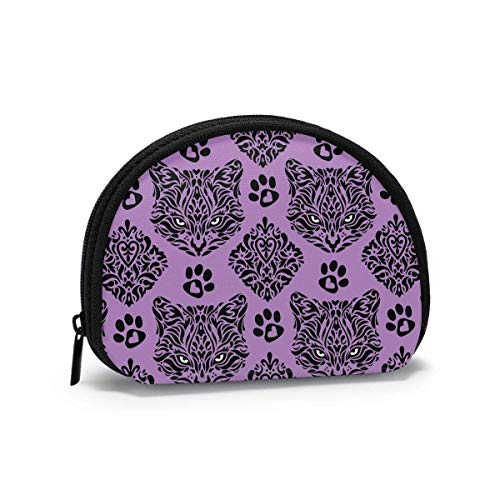 Cute Pet Purple Cat Paw Animals Printed Themed Change Purse Cute Shell Storage Bag Girl Wallets Buckle Coin Purses Key Pouch Gifys