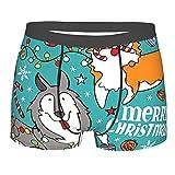 COSNUG Ropa interior para hombre Merry Christmas Cartoon Corgi Boxer Briefs Trunks Transpirable Shorts, multicolor, XL