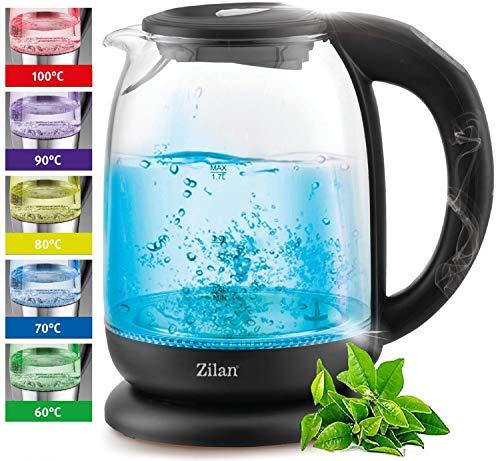 Glas Wasserkocher 1,7 Liter | 2200 Watt | Edelstahl mit Temperaturwahl | Teekocher | 100% BPA FREI | LED Beleuchtung im Farbwechsel | Temperatureinstellung (60°C-100°C) | Water Kettle |