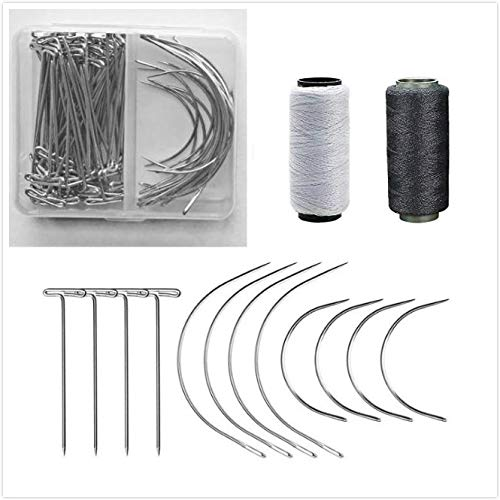 Wig Making Pins Needles Thread Set 50 Pieces Wig T Pins and 20 Pcs C Type Crochet Needle 2 Rolls Black and White Thread for Sewing Hair Weave Extensions Knitting Dreadlock Accessories