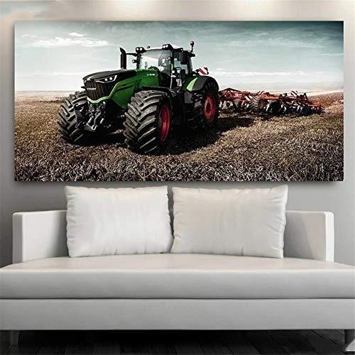 DIY 5D Large Diamond Painting Tractor de granja Kits de Perforación Completos Rhinestone Picture Art Craft para decoración de la Pared del hogar 70x140cm Round Drill