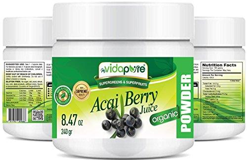 myVidaPure Bio ACAI BERRY SAFTPULVER. 100% reines natürliches RAW Non-GMO. SUPERFOOD Pulver für Gesundheit, Backen, Schönheit, Kochen und Nahrungsergänzung. 240 gr.