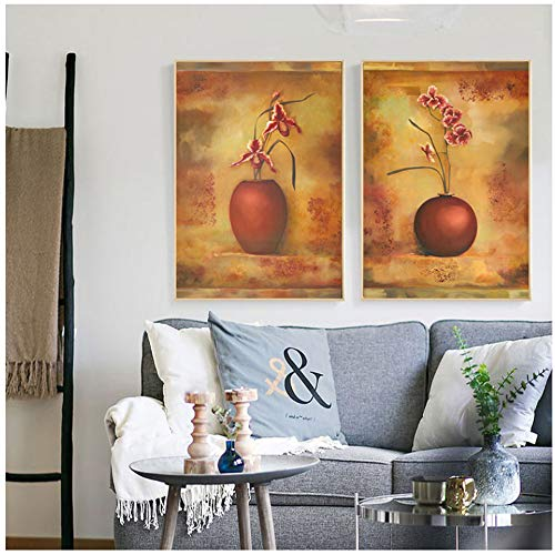 NIESHUIJING druk op canvas bloemenstuk kunst zonnebloem vlinder orchidee Rose Vintage vaas canvas schilderij 40x50cmx2pcs Kein Rahmen 1
