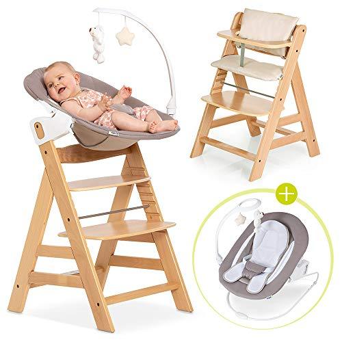 Hauck Alpha Plus Newborn Set Deluxe - Chaise Haute Bébé en Bois - Évolutive dès naissance - Inclus Transat pour nouveau-né, Coussin assise, Hauteur réglable - Beige naturel