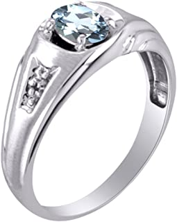 Birthstone Ring Sterling Silver or Yellow Gold Plated Silver Aquamarine & Diamond Ring