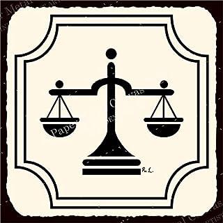 PotteLove Letreros de Metal Vintage con diseño de balanza de la Justicia para Abogados, Estilo Retro, Estilo Vintage