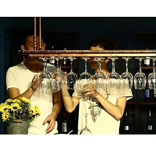 RACK MDELRulde Botelleros Soporte de Copa de Vino Colgante de Altura Ajustable/Botellero de Techo para Vino/Soporte de Botella de Vino Vintage Pared rústico/Soportes para Copas
