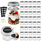 Tebery 40 PACK Mason Jars 4oz Mini Canning Jars with Regular Lids and Bands Jelly Jars for Jam, Honey, Wedding Favors, Shower Favors, Baby Foods