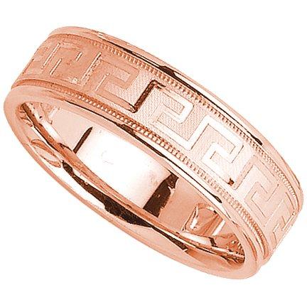 Con greca in oro rosa 14 k, matrimonio a fascia da 6 mm