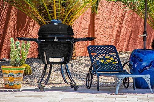 PIT BOSS K24 Kamado - Barbacoa de cerámica negra (134 x 77 x 120 cm, regulador de ventilación de hierro fundido)