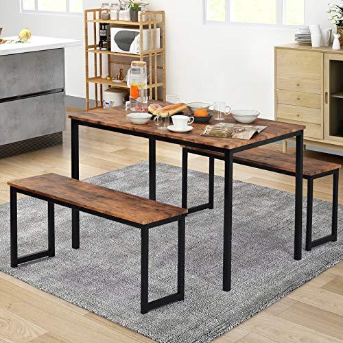 Kslogin Juego de mesa de comedor de 3 piezas y 2 bancos, comedor para 4 personas que ahorra espacio para la cocina. Juego de mesa de estilo industrial para cocina.