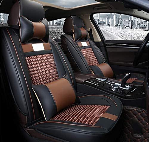 Coprisedile anteriore e posteriore universale in pelle per sedile anteriore e posteriore, set completo di cucito in pelle PU