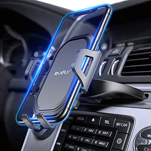 CD Slot Car Phone Mount RAXFLY Universal 360° Rotation CD Player Car Phone Holder Mount One Button Installation Release Compatible with Smartphone Samsung Galaxy Note 10 9 S10 S9 Plus iPhone 11 X XR