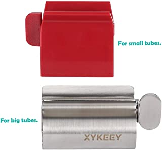 Toothpaste Tube Squeezer, Set of 2 Toothpaste Squeezer Rollers - Metal Toothpaste Tube Wringer + Plastic Toothpaste Seat Holder Stand.