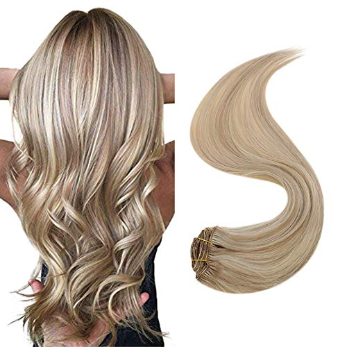 [15% OFF]Hetto Straight Clip in Human Hair Extensions 16 Inch Remy Blonde Straight Clip in Hair Extensions #18 Ash Blonde Mix with #613 Blonde Double Weft 100% Remy Clip in Extensions 7pcs/100g