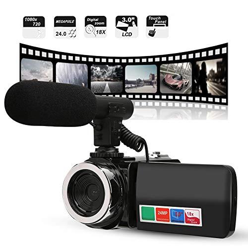 Tangxi 1280 * 720 Videokamera Camcorder,24MP 18X Digital ZoomYouTube Vlogging-Kamera,3 Zoll LCD-Bildschirm Weitwinkelobjektiv Digitalcamcorder mit Mikrofon unterstützt 32 GB Speicherkarte