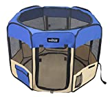 EliteField 2-Door Soft Pet Playpen, Exercise Pen, Multiple Sizes and Colors Available for Dogs, Cats and Other Pets (48' x 48' x 32'H, Royal Blue+Beige)