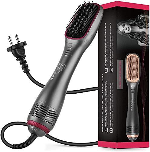 Cepillo alisador de pelo, cepillo para el pelo, alisador de pelo, cepillo de peluquería, iones de litio, secador de pelo eléctrico (gris)