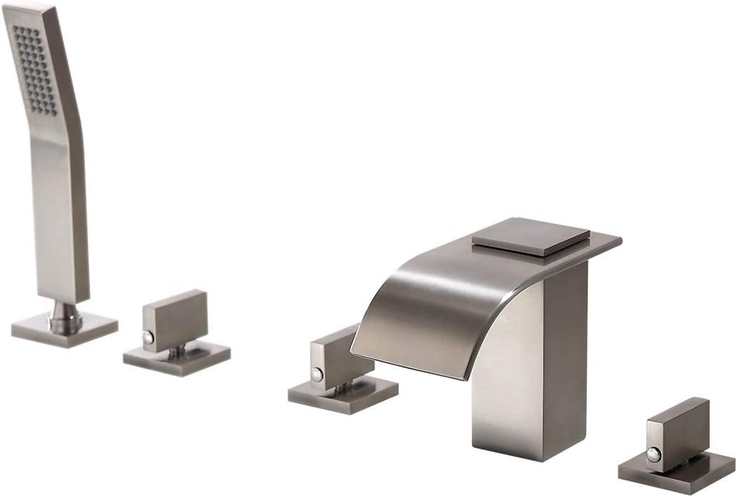 Lovedima Brushed Nickel Widespread Limited price [Alternative dealer] sale Waterfall Fa Filler Tub Roman