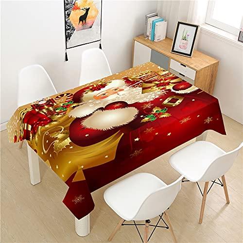 Mantel de Navidad Lavable, Mantel Rectangular Impermeable, Apto para Cocina, Restaurante, Picnic, Fiesta M-14 140x210cm