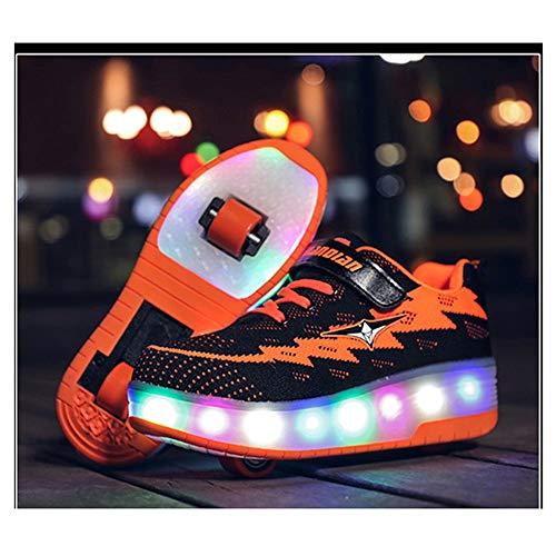WXBYDX Kinder Skateboard Schuhe Blinkschuhe Kinderschuhe Mit Rollen LED Skate Rollen Schuhe USB Aufladen Trainer Gymnastik Sneakers Für Junge Mädchen Weihnachten Ostern,Größe (29-41) black-29