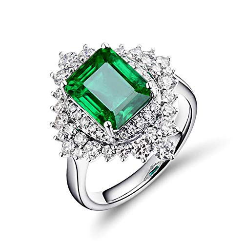 Beydodo Emerald Rings for Women White Gold 18k, Birthstone Ring May Size T 1/2 with Diamond and Emerald 2.5ct - Ring for Her Valentines Day