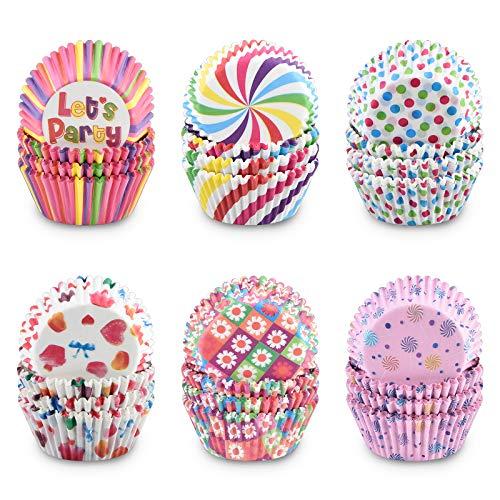 Pajaver 600 Stück Muffin Förmchen Cupcake Formen Papier Regenbogen Wrapper für Backformen Dessert Hochzeit Geburtstag Party