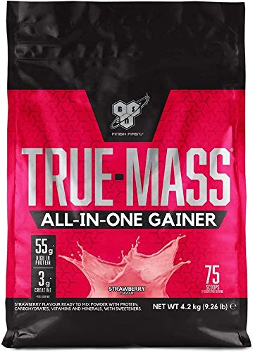 BSN True Mass All In One, Proteine Whey in Polvere con Creatina, Glutammina, Vitamina D e Zinco, Supporto della Massa Muscolare, Fragola, 25 Porzioni, 4.2 kg