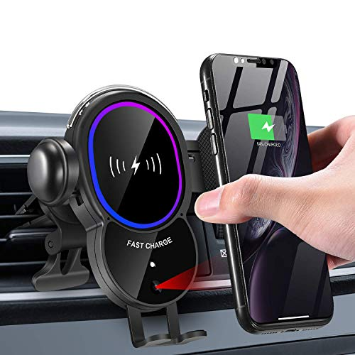 WALOTAR Wireless Car Charger Mount, Electric Auto-Clamping 10W Qi Fast Charging Air Vent Cell Phone Holder,Compatible with iPhone 12 Pro Max/11 Pro Max/XS/XR/X/8,Samsung S20/S10/S9/S8 Note 10
