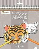 Avenue Mandarine GY023O - Un carnet à spirale Graffy pop mask comprenant 24 masques pré-découpés à colorier (12 designs x 2) 250g, Animaux