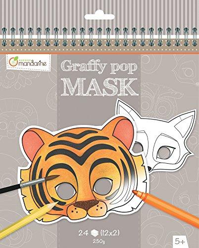 Avenue Mandarine GY023O Malbuch Graffy pop mit vorgestanzten Masken zum Ausmalen, 250g Zeichenpapier gedruckt, 24 Blatt, 12 verschiedene Motive x 2, geeignet für Kinder ab 5 Jahren, 1 Stück, Tiere